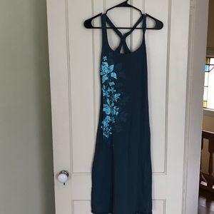 Roxy Blue Hibiscus Floral Midi Dress